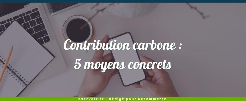 Contribution carbone, couverture de l'article